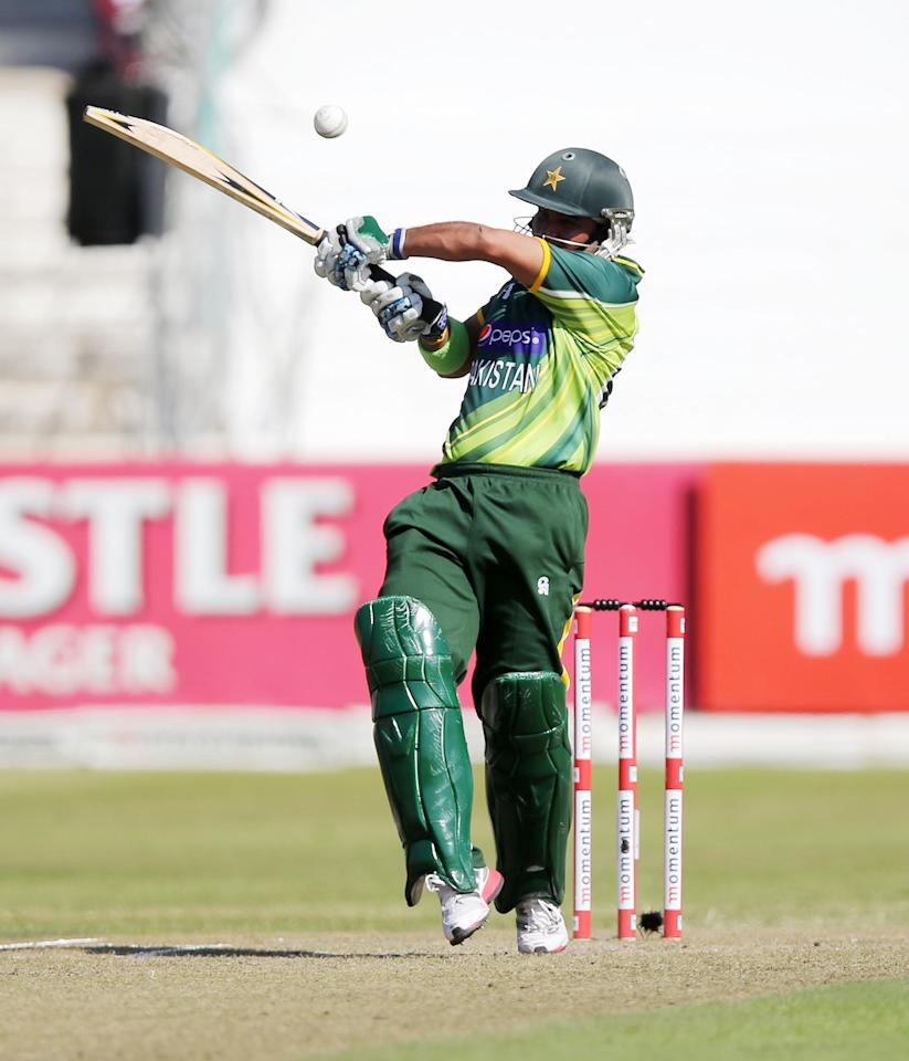Imraan Farhaat of Pakistan bats during the cricket match between South Africa and Pakistan at Sahara Stadium Kingsmead on March 21, 2013 in Durban, South Africa  AFP PHOTO  / Stringer        (Photo credit should read -/AFP/Getty Images)