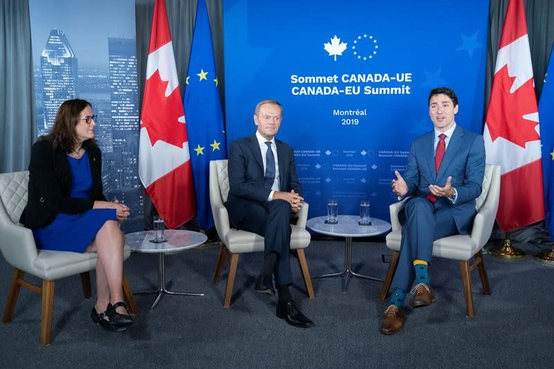 Trudeau, Tusk take aim at Trump, and fixing WTO at Canada-EU summit