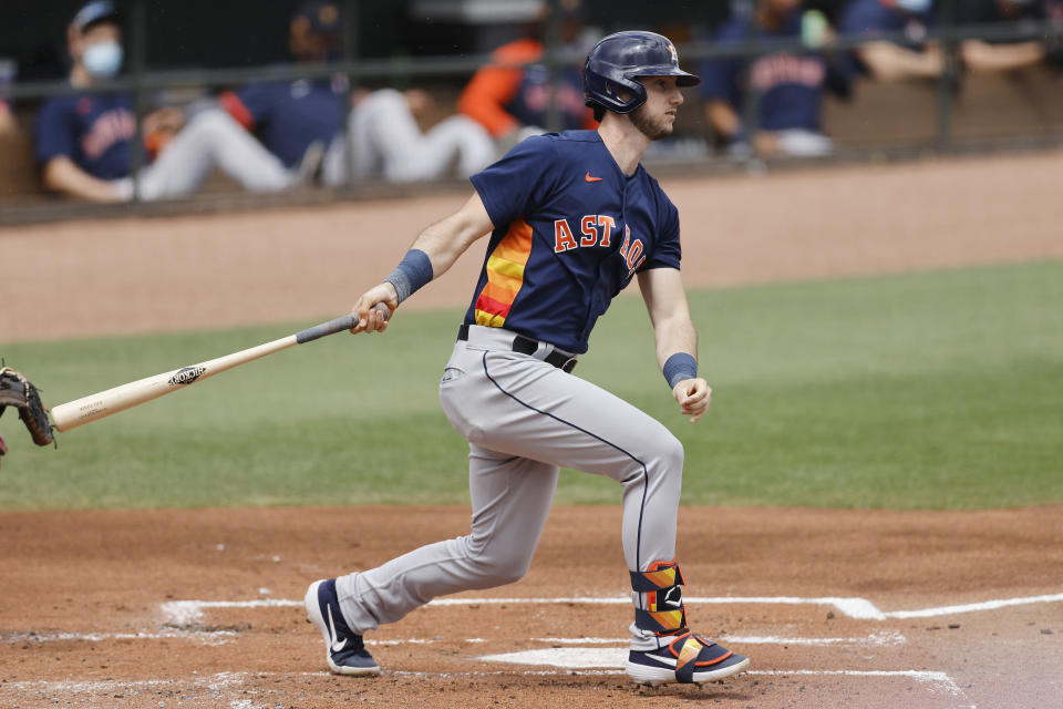 JUPITER, FLORIDA - MARCH 20: Kyle Tucker #30 of the Houston Astros in action against the St. Louis Cardinals during a Grapefruit League spring training game at Roger Dean Stadium on March 20, 2021 in Jupiter, Florida. (Photo by Michael Reaves/Getty Images)