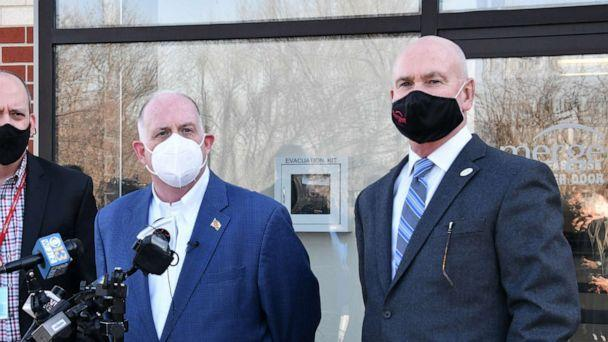 PHOTO: Maryland Governor Larry Hogan, left, holds a press conference with Emergent BioSolutions CEO Robert Kramer, right, at the company's plant in Baltimore, Feb. 8, 2021. (Joe Andrucyk/Maryland Governor's Office)