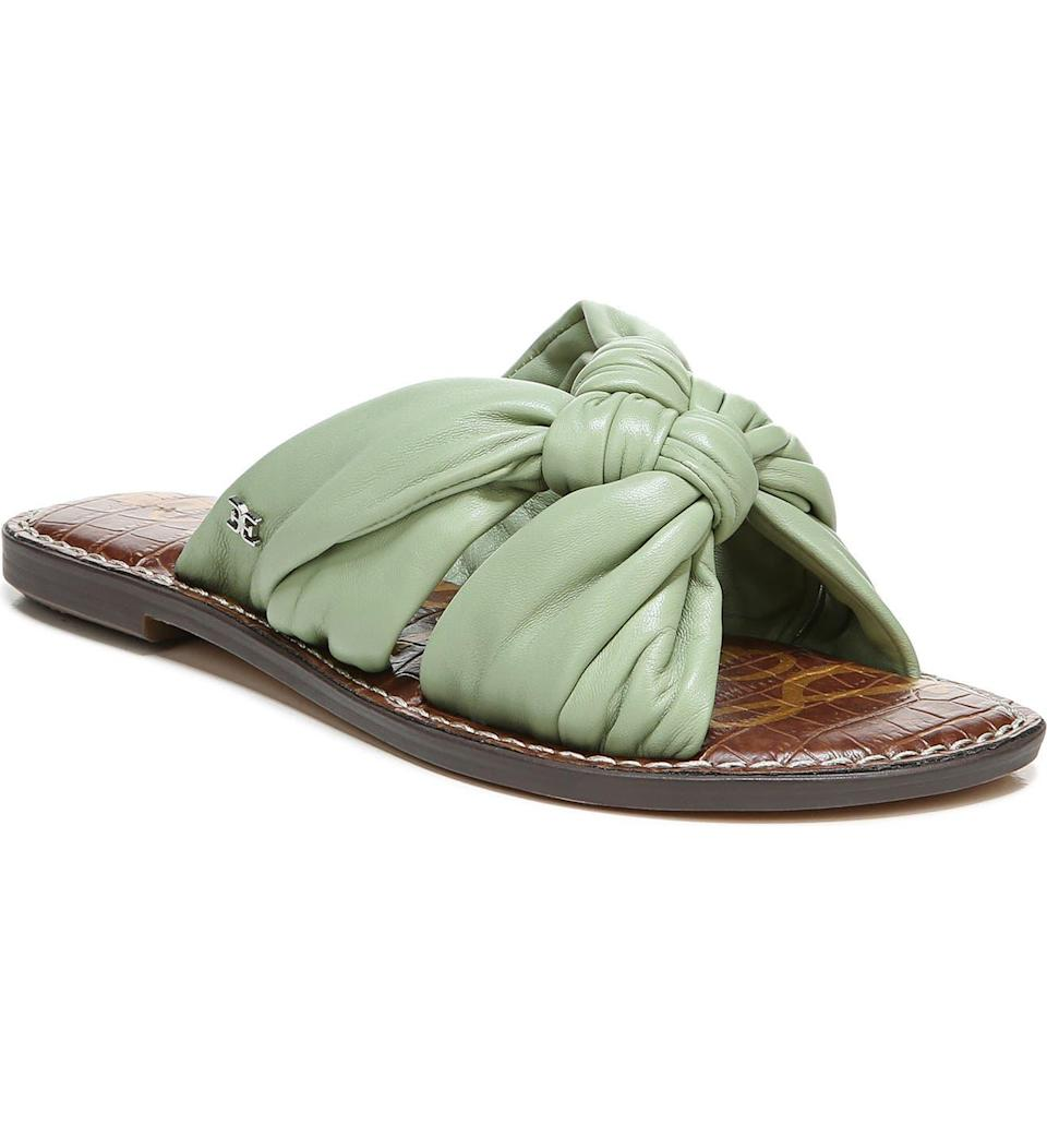 """<h2>Sam Edelman Garson Slide Sandal</h2><br>March kicked off the early aughts of sandal season and we saw these knotted slides with their soft leather, cushioned footbeds, and creamy pistachio coloring rise to top-shopped ranks — all thanks to a featured spot on our <a href=""""https://www.refinery29.com/en-us/2021/03/10362455/spring-shoe-trends-2021"""" rel=""""nofollow noopener"""" target=""""_blank"""" data-ylk=""""slk:spring shoe trends"""" class=""""link rapid-noclick-resp"""">spring shoe trends</a>' list. With top ratings on Nordstrom, customers call this pair """"darling,"""" """"true to size,"""" and """"the most comfortable.""""<br><br><em>Shop <strong><a href=""""https://www.nordstrom.com/s/sam-edelman-garson-slide-sandal-women/5865358"""" rel=""""nofollow noopener"""" target=""""_blank"""" data-ylk=""""slk:Nordstrom"""" class=""""link rapid-noclick-resp"""">Nordstrom</a></strong></em><br><br><strong>Sam Edelman</strong> Garson Slide Sandal, $, available at <a href=""""https://go.skimresources.com/?id=30283X879131&url=https%3A%2F%2Fwww.nordstrom.com%2Fs%2Fsam-edelman-garson-slide-sandal-women%2F5865358"""" rel=""""nofollow noopener"""" target=""""_blank"""" data-ylk=""""slk:Nordstrom"""" class=""""link rapid-noclick-resp"""">Nordstrom</a>"""