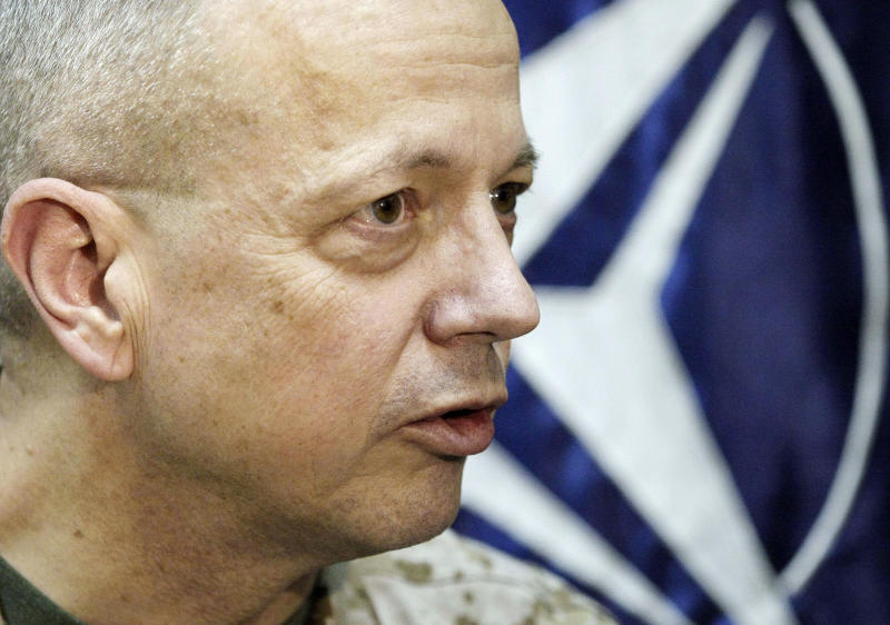 In this Sunday, Jan. 27, 2013 photo, U.S. Marine Gen. John Allen, the top commander of U.S.- and NATO-led International Security Assistance Force (ISAF) troops in Afghanistan, speaks during an interview with The Associated Press in Kabul, Afghanistan. Allen expressed confidence that Afghan security forces will be able tackle the insurgency when they take the lead in the 11-year-old war against the Taliban this spring, and will be able to hold their own against the Taliban on the battle field without the presence of foreign troops fighting on the front line. (AP Photo/Musadeq Sadeq)