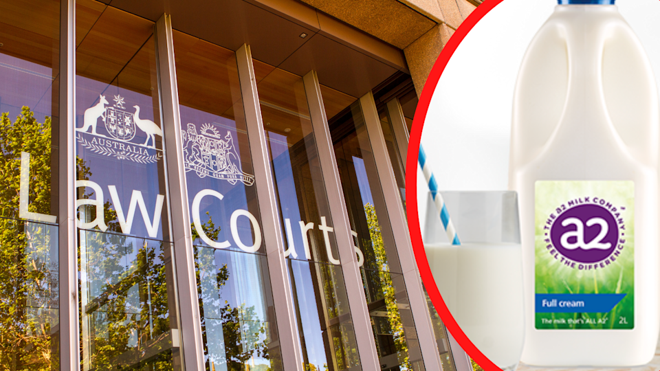 The exterior of the federal law courts building and a bottle of a2 milk.