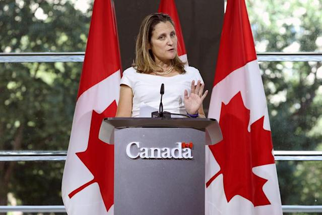 FILE PHOTO: Canadian Foreign Minister Chrystia Freeland takes part in a news conference at the Embassy of Canada in Washington, U.S., August 31, 2018. REUTERS/Chris Wattie