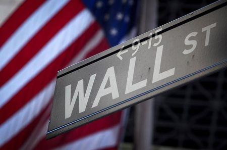 A Wall Street sign outside the New York Stock Exchange