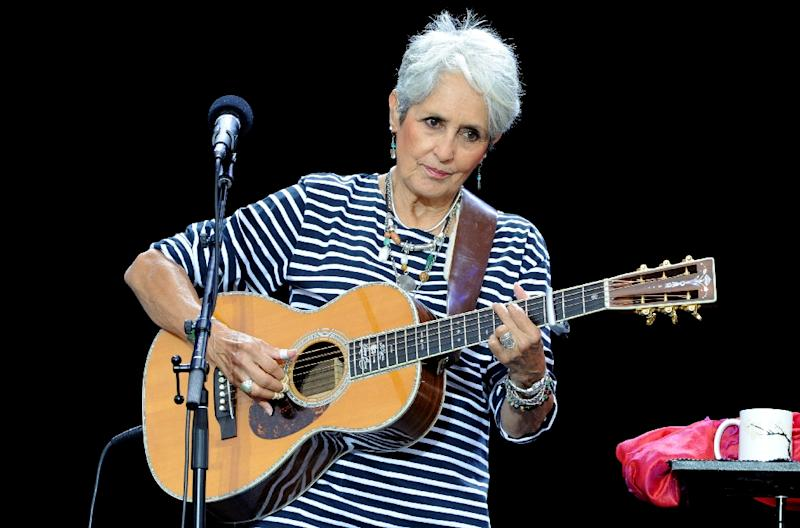 File photo taken on July 19, 2015, of US folk singer Joan Baez performing in Carhaix-Plouguer, west France (AFP Photo/Fred TANNEAU)