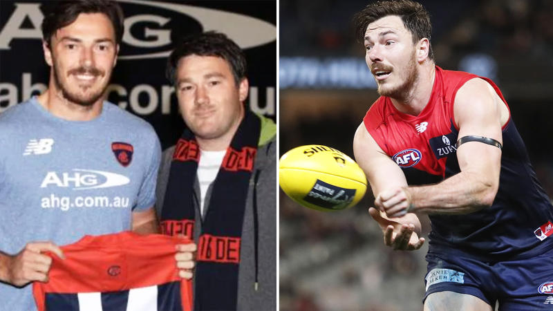 Michael Hibberd, pictured here with his brother Geoff and in action in the AFL.