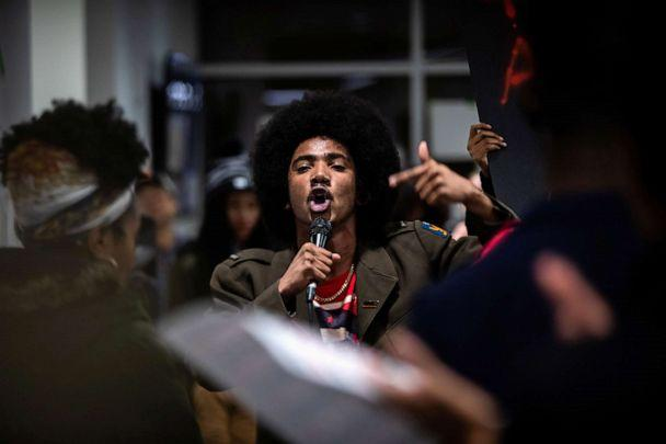 PHOTO: A student speaks during a rally against white supremacy at Syracuse University in Syracuse, N.Y., Nov. 20, 2019. (Maranie Staab/Reuters)