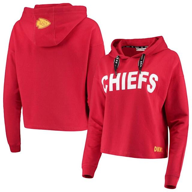 Women's DKNY Sport Kansas City Chiefs Crop Pullover Hoodie