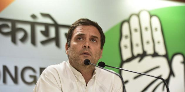 Congress President Rahul Gandhi addresses the media after B.S. Yeddyurappa resigned as Karnataka Chief Minister, at AICC, on May 19, 2018 in New Delhi, India.