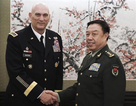 U.S. Army Chief of Staff General Odierno shakes hands with Fan, vice chairman of China's Central Military Commission, in Beijing