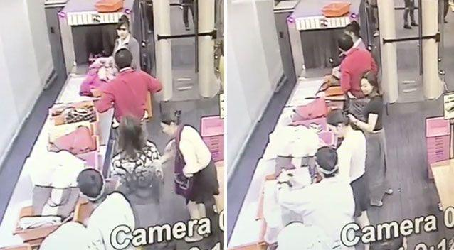 The guard (top left) as bags go through the X-ray and (right) opening the handbag. Source: Newsflare
