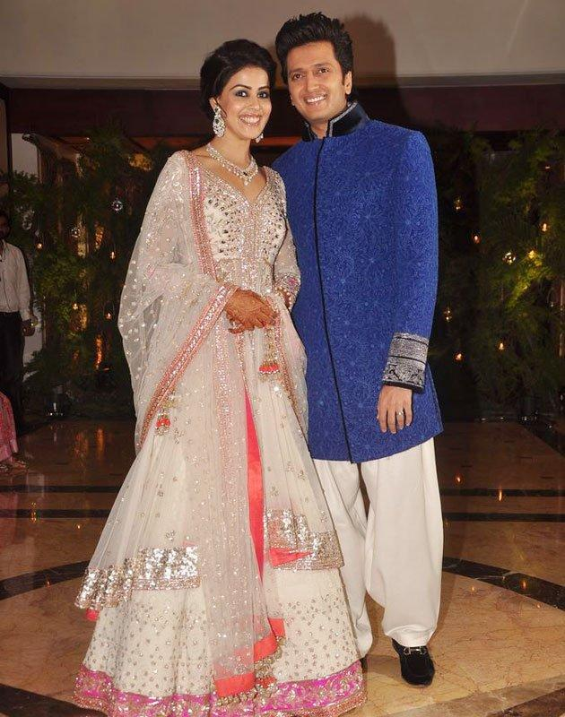 "<b>1. Sweet Love: Ritesh and Genelia</b><br>The wedding of real and reel-life Bollywood couple, Ritesh Deshmukh and  Genelia D'Souza, was one of the most anticipated marriages in tinsel  town.<br><br><b>Recommended Read: </b><br><a href=""http://www.bollywoodshaadis.com/article/planning--reception/real-weddings/romantic-moments-of-riteish-and-genelia"">Romantic Moments of Riteish and Genelia</a>"