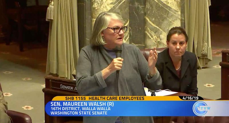 "Washington state senator Maureen Walsh slammed for saying that nurses ""play cards for a considerable amount of the day."" (Photo: TVW)"