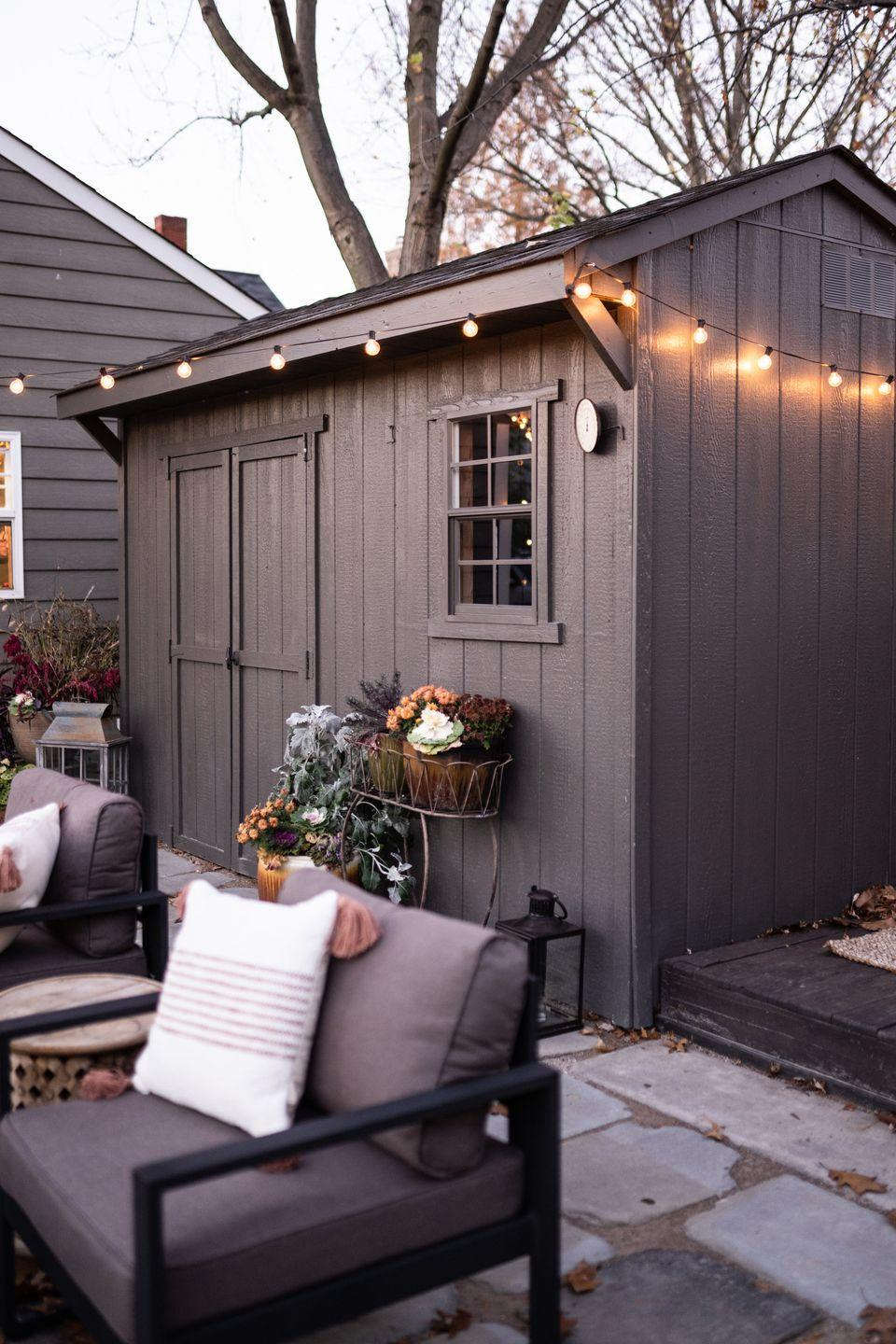 """<p>For paint, dark colors have been trending on exteriors, Wadden says. They can look good no matter the season. """"Our 2021 Color of the Year, Urbane Bronze SW 7048, will look just as beautiful on a snowy day in January as it will in our outdoor offices this summer,"""" she says. </p><p>If you're feeling bold and want help focusing, go for a red. Wadden suggests Sherwin Williams's top-selling Red Barn or Rustic Red. To bring in an element of fun, you could even """"use multiple colors to create a beautiful mural,"""" she suggests.</p>"""