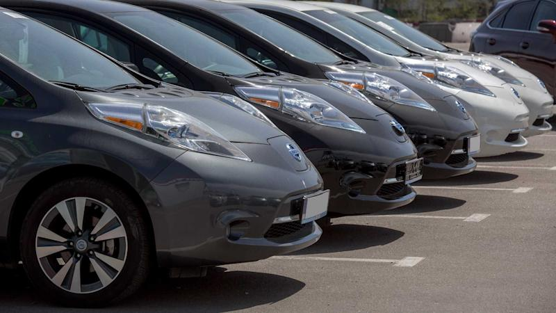 Nissan Leaf Electric Vehicles Parked In A Row