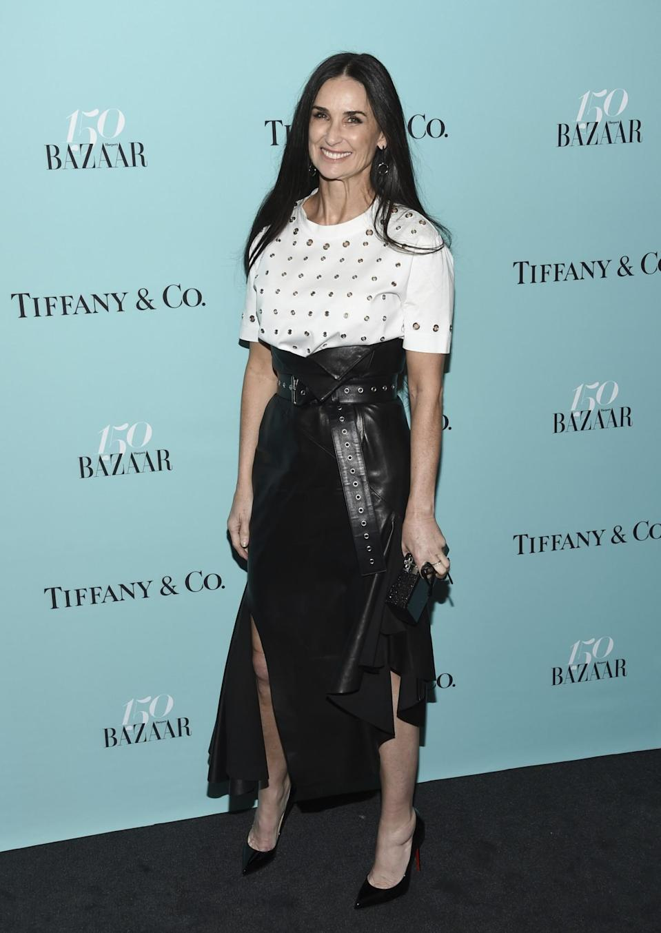 <p>Demi showed that you can rock a leather look at any age.<br> (Photo: AP) </p>