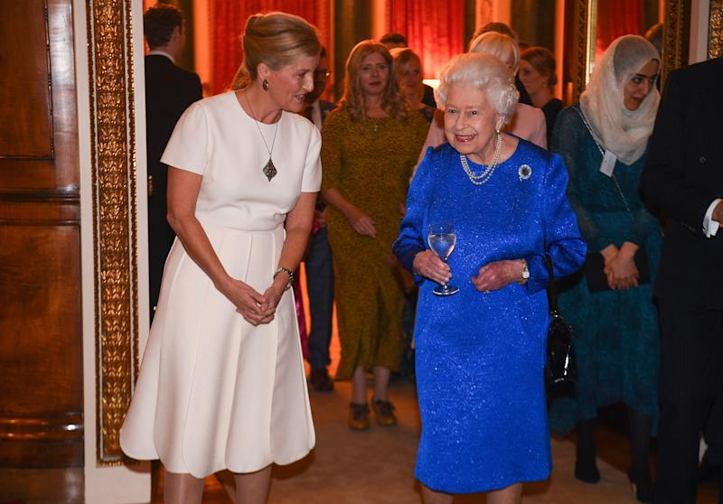 Britain's Queen Elizabeth II (R) and Britain's Sophie, Countess of Wessex, attend a reception at Buckingham Palace in London on October 29, 2019, to celebrate the work of The Queen Elizabeth Diamond Jubilee Trust. (Photo by Kirsty O'Connor / POOL / AFP) (Photo by KIRSTY O'CONNOR/POOL/AFP via Getty Images)
