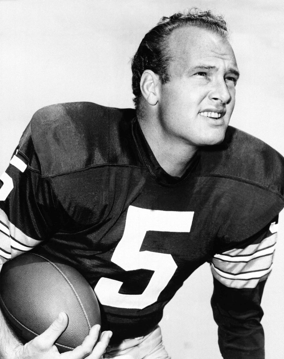 "Paul Hornung, of the Green Bay Packers, in an undated photo. Hornung, the dazzling ""Golden Boy"" of the Green Bay Packers whose singular ability to generate points as a runner, receiver, quarterback, and kicker helped turn them into an NFL dynasty, has died, Friday, Nov. 13, 2020. He was 84. (AP Photo, File)"