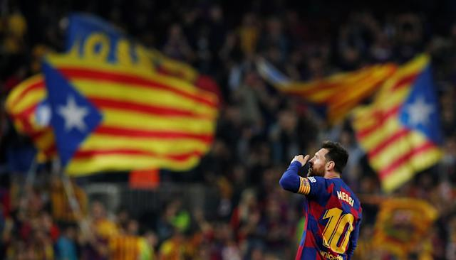 Lionel Messi scored another one of his bonkers free kicks against Valladolid. (Reuters)