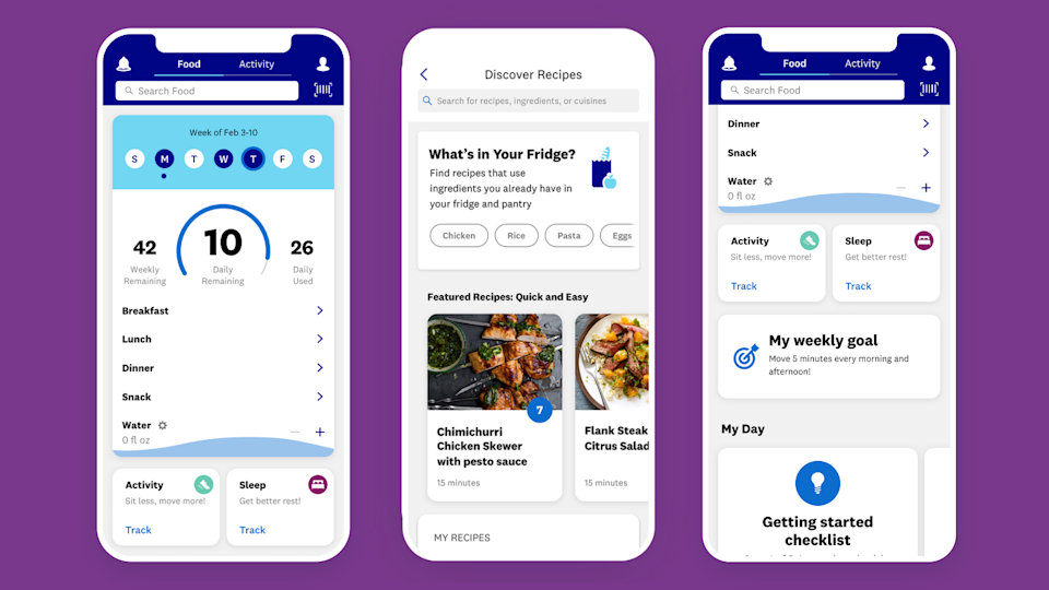 On WW, you track everything you eat and drink, as well as your workouts on the app or website.
