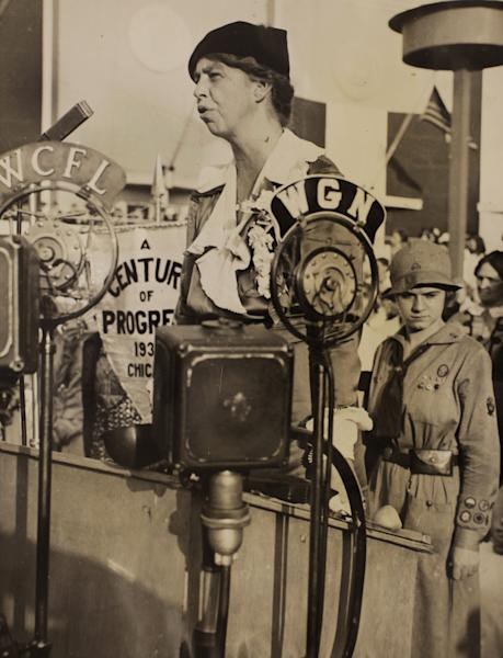 """In this Nov. 1, 1933 photo, Eleanor Roosevelt speaks during Women's Day at the World's Fair in Chicago. PBS announced Thursday, May 8, 2014, its fall season will open with the seven-part Ken Burns' documentary, """"The Roosevelts: An Intimate History."""" (AP Photo/PBS, Franklin D. Roosevelt Presidential Library, Hyde Park, NY)"""