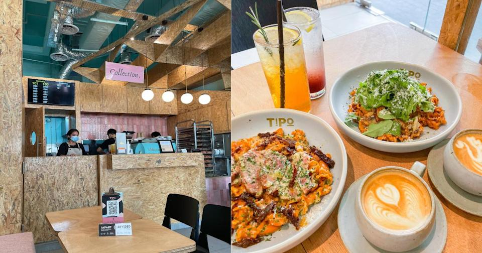 Collage of Tipo Strada's food and interior