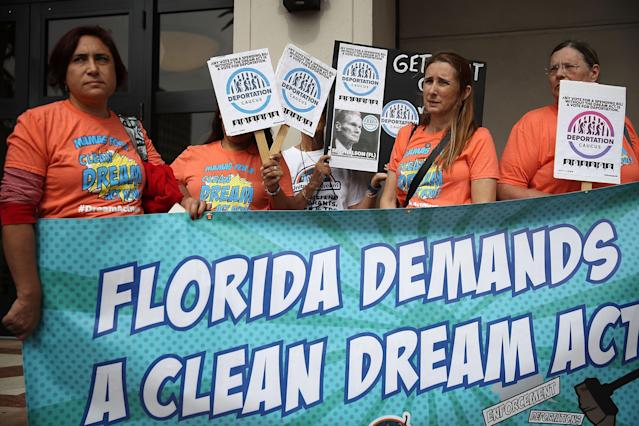 <p>Activists stand outside the office of Sen. Bill Nelson as they ask for his support for Deferred Action for Childhood Arrivals who are people who were brought to this country illegally as children — also known as Dreamers — on Jan. 10, 2018 in Coral Gables, Fla. Sen. Nelson voted in December for a temporary budget that didn't include a solution for Dreamers. The activists want him to vote against any spending bill that does not include a clean Dream Act. (Photo: Joe Raedle/Getty Images) </p>
