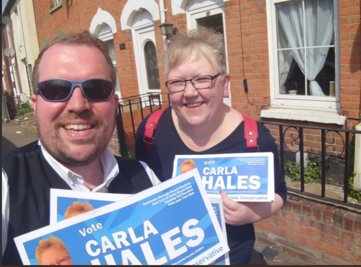 The Tory candidate was attacked as she went about campaign activities in Colchester, Essex (TWITTER)