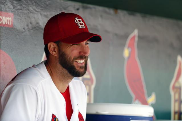 St. Louis Cardinals starting pitcher Adam Wainwright pranked the Padres' Skip Schumaker during Wednesday's game. (AP Photo)