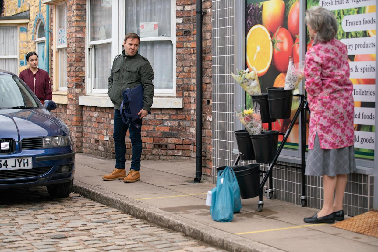 FROM ITV  STRICT EMBARGO - No Use Before Tuesday 18th May 2021  Coronation Street - Ep 10334  Monday 24th May 2021 - 2nd Ep  Evelyn Plummer [MAUREEN LIPMAN] is furious to discover that Dev has given Tyrone Dobbs [ALAN HALSALL] a job doing deliveries for the shop and makes barbed remarks to Tyrone about his recent behaviour.   Picture contact David.crook@itv.com   This photograph is (C) ITV Plc and can only be reproduced for editorial purposes directly in connection with the programme or event mentioned above, or ITV plc. Once made available by ITV plc Picture Desk, this photograph can be reproduced once only up until the transmission [TX] date and no reproduction fee will be charged. Any subsequent usage may incur a fee. This photograph must not be manipulated [excluding basic cropping] in a manner which alters the visual appearance of the person photographed deemed detrimental or inappropriate by ITV plc Picture Desk. This photograph must not be syndicated to any other company, publication or website, or permanently archived, without the express written permission of ITV Picture Desk. Full Terms and conditions are available on  www.itv.com/presscentre/itvpictures/terms