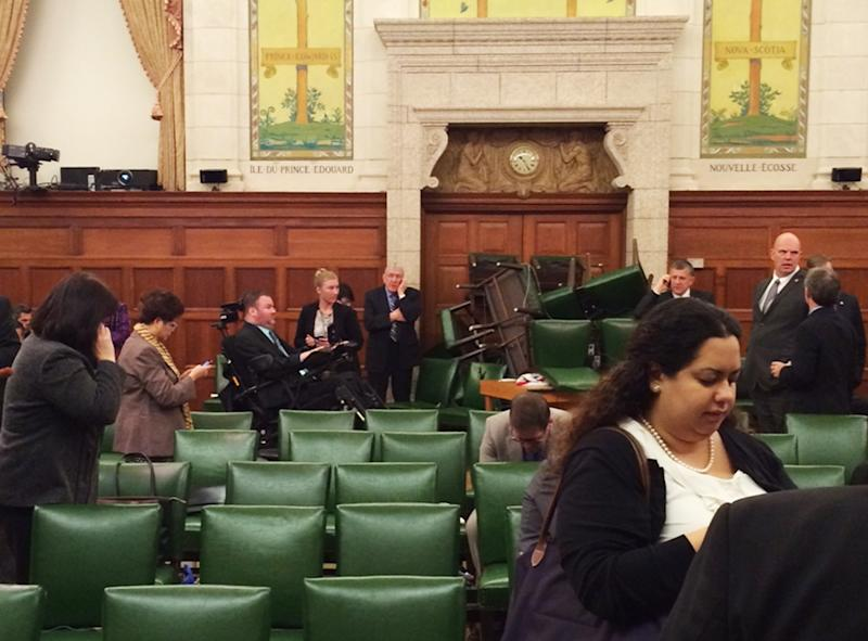 The Conservative Party caucus room is shown shortly after shooting began on Parliament Hill, in Ottawa