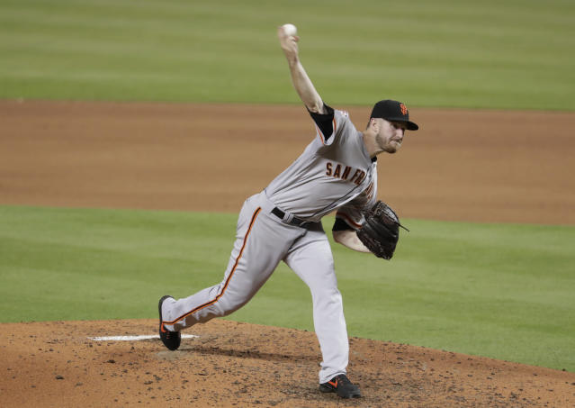 San Francisco Giants starting pitcher Chris Stratton delivers during the fourth inning of the team's baseball game against the Miami Marlins, Tuesday, June 12, 2018, in Miami. (AP Photo/Lynne Sladky)