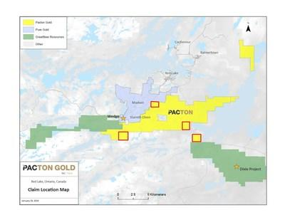 Figure 1. Location map of mineral claims acquired by Pacton Gold. (CNW Group/Pacton Gold Inc.)