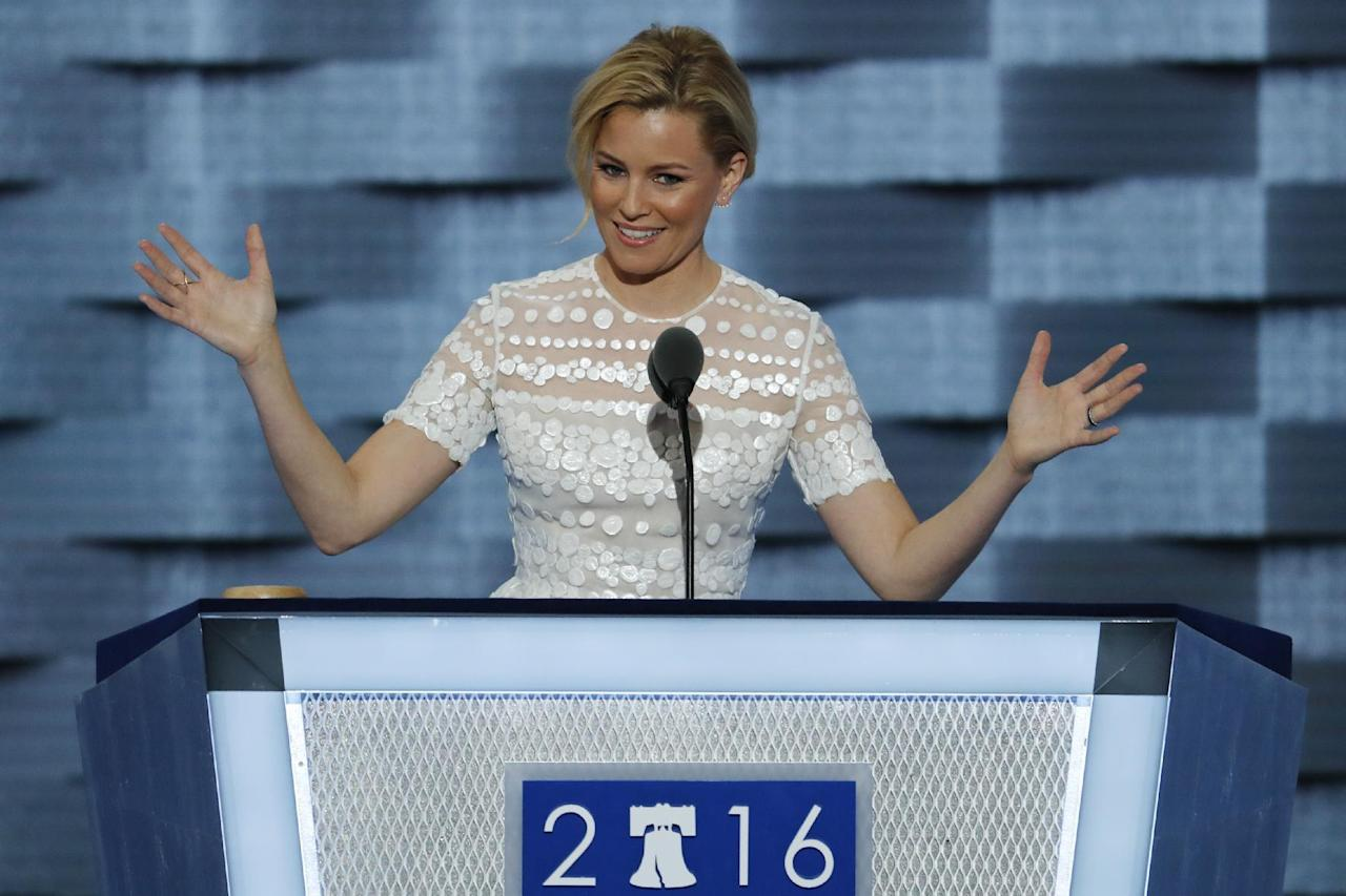 Actress Elizabeth Banks speaks during the second day of the Democratic National Convention in Philadelphia , Tuesday, July 26, 2016. (AP Photo/J. Scott Applewhite)
