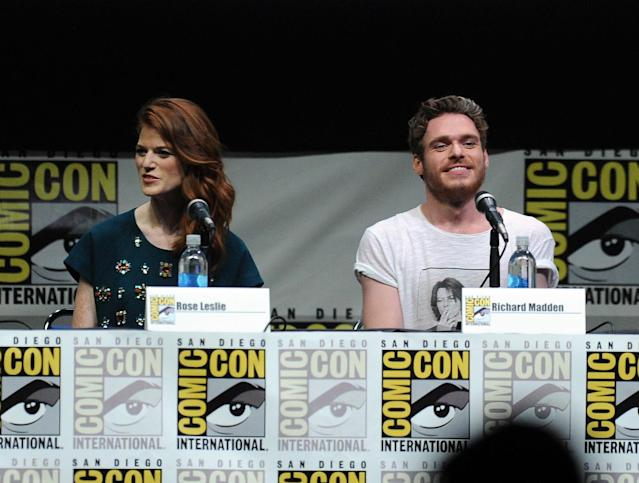 "Rose Leslie and actor Richard Madden speak onstage during the ""Game of Thrones"" panel at Comic-Con International 2013 at San Diego Convention Center on July 19, 2013 in San Diego, California."