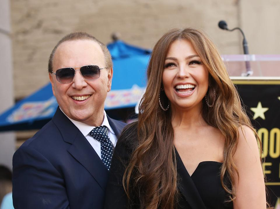 HOLLYWOOD, CALIFORNIA - OCTOBER 10: Tommy Mottola and Thalía attend the ceremony honoring Tommy Mottola with a Star on The Hollywood Walk of Fame held on October 10, 2019 in Hollywood, California. (Photo by Michael Tran/FilmMagic)