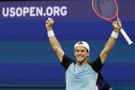 Diego Schwartzman, of Argentina, celebrates after beating Kevin Anderson, of South Africa, during the second round of the US Open tennis championships, Thursday, Sept. 2, 2021, in New York. (AP Photo/Frank Franklin II)