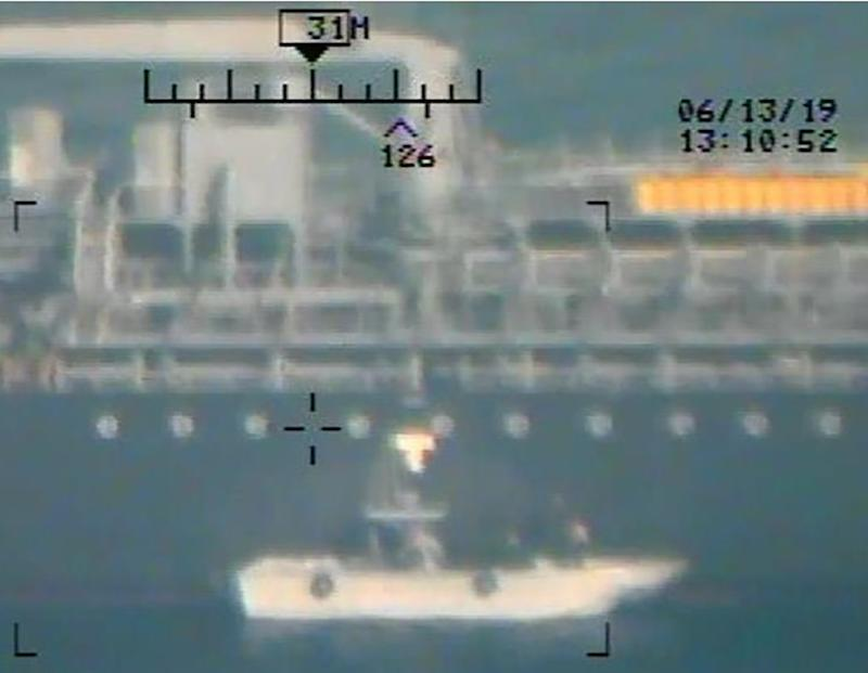 This image released on June 17, 2019 by the US Department of Defense is presented as new evidence incriminating Iran in the June 13 tanker attacks in the Gulf of Oman