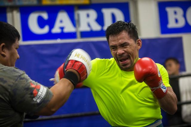 Manny Pacquiao attends an afternoon training session at Wild Card Boxing in Los Angeles on June 20, 2019. (Apu Gomes/AFP/Getty Images)