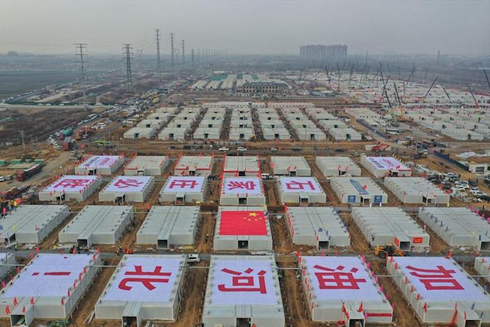 """This aerial photo, taken on Jan. 20, 2021, shows the construction site of the Huangzhuang quarantine center in Shijiazhuang, north China's Hebei Province.<span class=""""copyright"""">Yang Shiyao/Xinhua via Getty)</span>"""