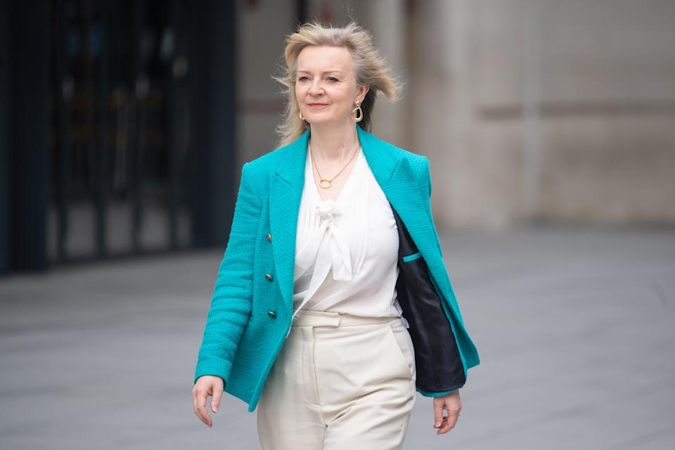 International Trade Secretary Liz Truss arriving at BBC Broadcasting House in central London to appear on the BBC1 current affairs programme, The Andrew Marr Show. Picture date: Sunday April 25, 2021. (Photo by Dominic Lipinski/PA Images via Getty Images)
