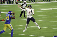 Chicago Bears quarterback Nick Foles (9) throws an interception in the end zone during the second half of an NFL football game against the Los Angeles Rams Monday, Oct. 26, 2020, in Inglewood, Calif. (AP Photo/Ashley Landis)