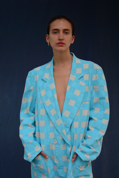 """<p>Helmed by designer Victoria Sanchez, Bolazo creates one-of-a-kind pieces inspired by the """"humorous relationship between south Italian mannerisms and traditional gaucho attire."""" The brand utilizes experimental prints on classic silhouettes, such as checker-print blazers and pinstriped blouses. </p>"""