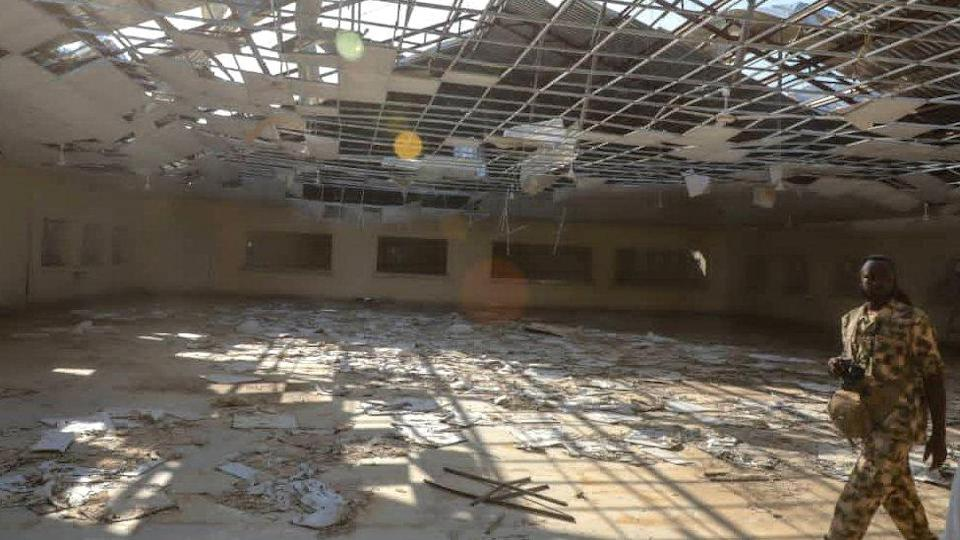 The interior of a school building with the roof blown off