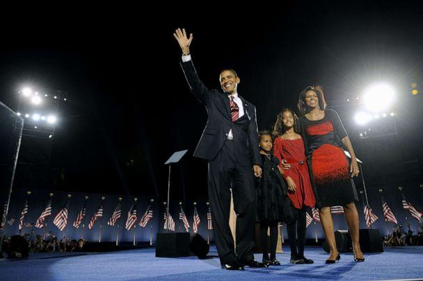 PHOTO: Democratic presidential candidate Barack Obama and his family arrive on stage for his election night victory rally at Grant Park, Nov. 4, 2008, in Chicago, Illinois. (Emmanuel Dunand/AFP/Getty Images, FILE)