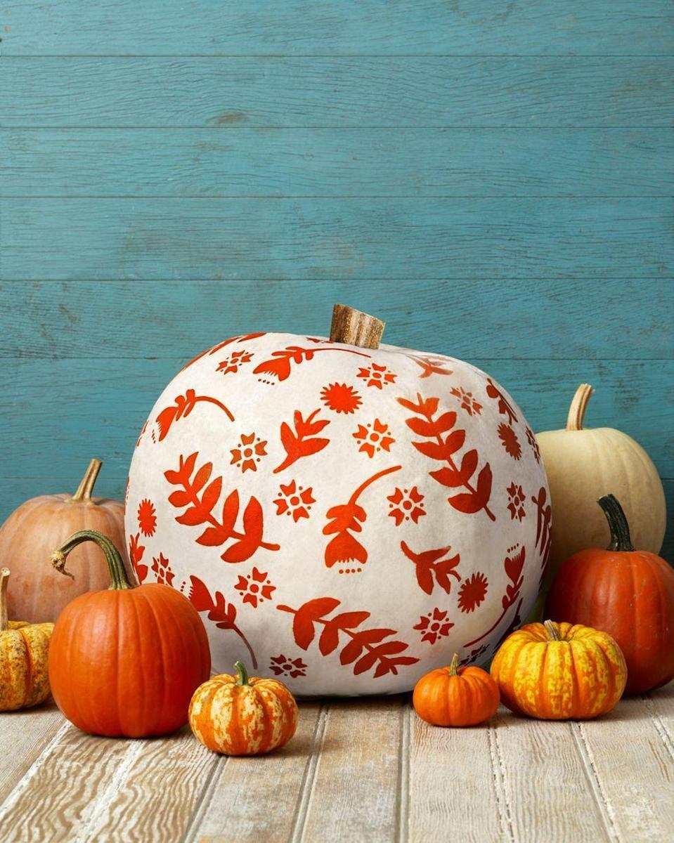 """<p>Pick out a few leaf and flower stencils, then tape them to your pumpkin and add craft paint. (If you want to make your guests do a double-take, opt for orange paint on a white pumpkin—just like the design you see here.)</p><p><a class=""""link rapid-noclick-resp"""" href=""""https://go.redirectingat.com?id=74968X1596630&url=https%3A%2F%2Fwww.walmart.com%2Fsearch%2F%3Fquery%3Dcraft%2Bpaint&sref=https%3A%2F%2Fwww.thepioneerwoman.com%2Fhome-lifestyle%2Fdecorating-ideas%2Fg36664123%2Fwhite-pumpkin-decor-ideas%2F"""" rel=""""nofollow noopener"""" target=""""_blank"""" data-ylk=""""slk:SHOP CRAFT PAINT"""">SHOP CRAFT PAINT</a></p>"""