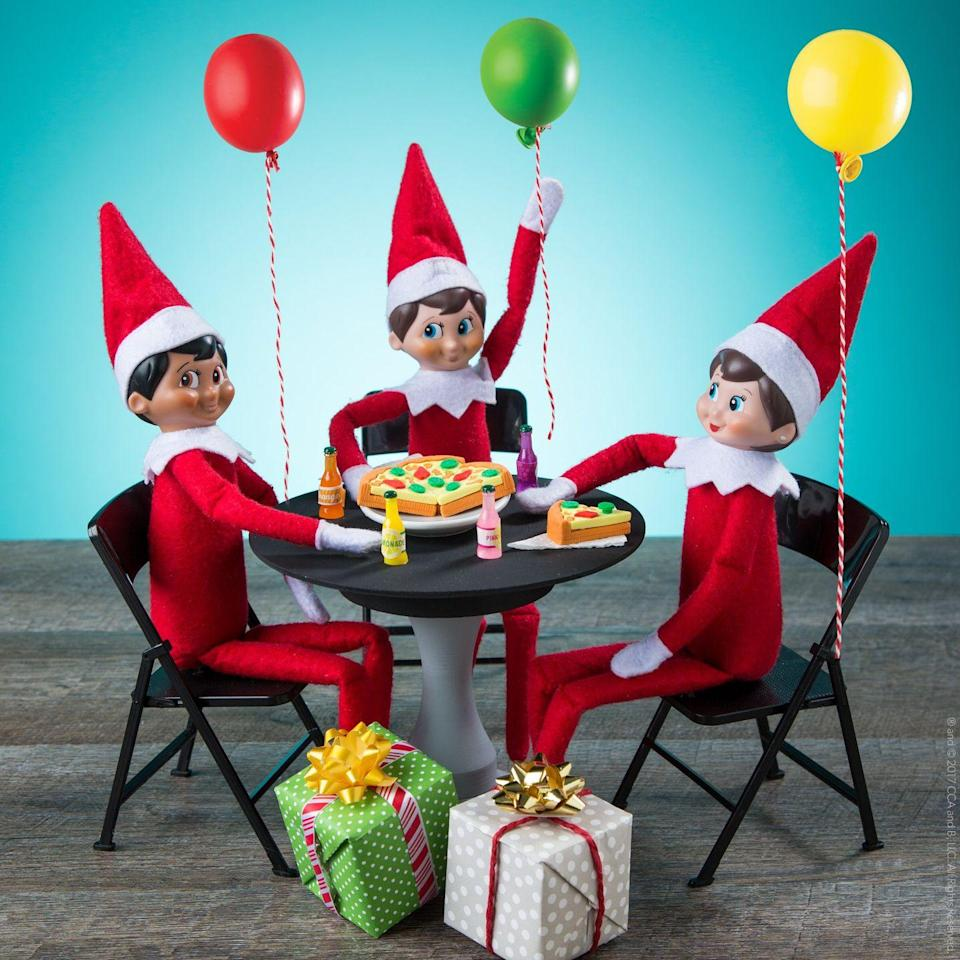 """<p>Got a December birthday in your family? In addition to their Christmas duties, you'll have to let the elves plan a celebratory bash!</p><p><strong>Get the tutorial at <a href=""""https://www.facebook.com/elfontheshelf/photos/a.287910360524/10162255992785525/?type=3&theater"""" rel=""""nofollow noopener"""" target=""""_blank"""" data-ylk=""""slk:Elf on the Shelf"""" class=""""link rapid-noclick-resp"""">Elf on the Shelf</a>.</strong></p><p><strong><a class=""""link rapid-noclick-resp"""" href=""""https://www.amazon.com/Play-Doh-Modeling-Compound-Non-Toxic-Exclusive/dp/B00JM5GW10?tag=syn-yahoo-20&ascsubtag=%5Bartid%7C10050.g.22690552%5Bsrc%7Cyahoo-us"""" rel=""""nofollow noopener"""" target=""""_blank"""" data-ylk=""""slk:SHOP PLAY-DOH"""">SHOP PLAY-DOH</a></strong></p>"""