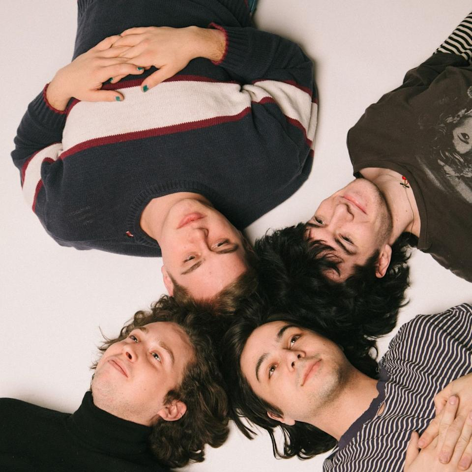 "<p>This four-piece band from Bloomington, Illinois has all the makings of your next favorite boy band—without the tacky outfits and bad haircuts. Hoops' hazy, lo-fi songs, including their latest single, ""Rules,"" are a blissful mix of groovy chords, pop beats, and dreamy '70s vibes. Their debut album, <em>Routines</em>, drops May 5th, so mark your calendars and get ready for a whole new repertoire of chill-out anthems. <span></span></p>"