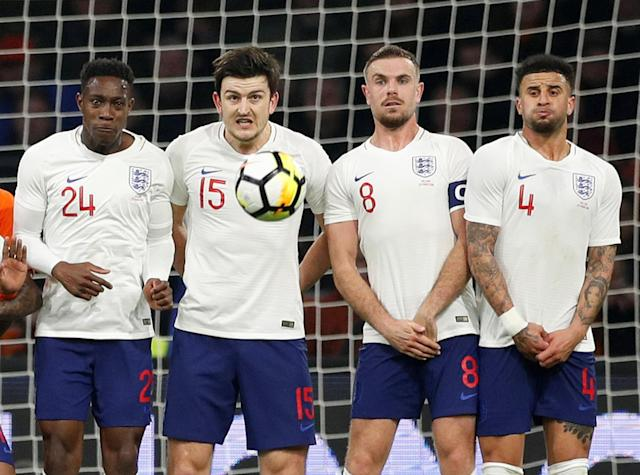 Soccer Football - International Friendly - Netherlands vs England - Johan Cruijff Arena, Amsterdam, Netherlands - March 23, 2018 England's Danny Welbeck, Harry Maguire, Jordan Henderson and Kyle Walker in a wall against a freekick from Netherlands' Memphis Depay Action Images via Reuters/John Sibley